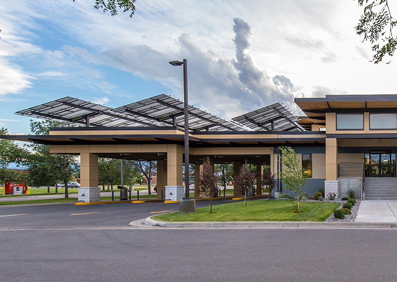 View of MFCU's Reserve Street branch solar panels above the drive-thru.