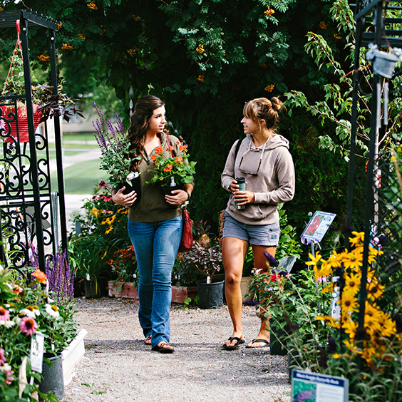 two women walking at a plant nursery