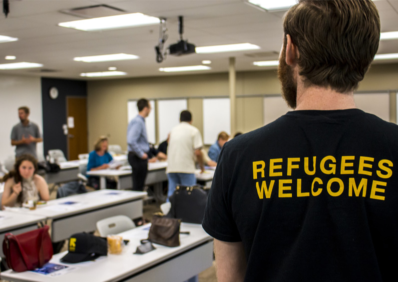 A member of International Rescue Committee attends an event for the refugee community at Missoula Federal Credit Union.