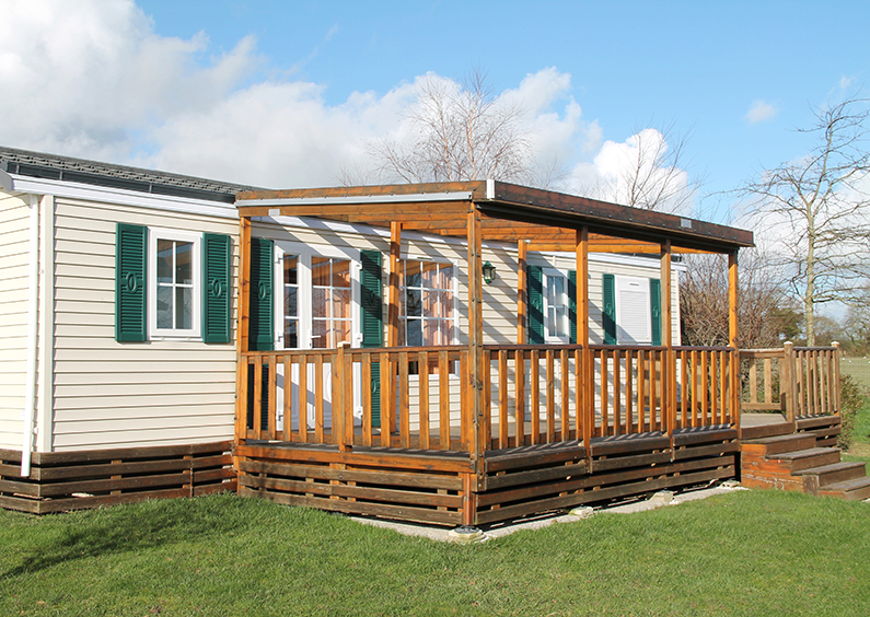 Manufactured home with a view of the front porch.