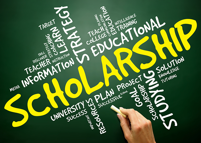 Scholarship word cloud, education concept.