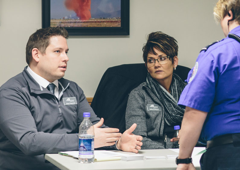 MFCU staff meet with TSA agents affected by the furlough.