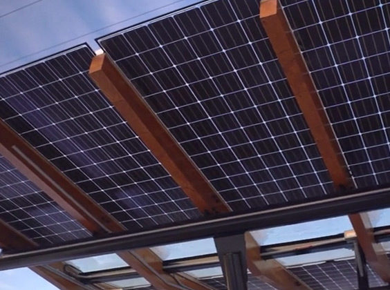 Photo of the solar panel roof of the Missoula College bus shelter.