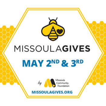Graphic of a honey bee with Missoula Gives 2019 date May 2nd - 3rd by the Missoula Community Foundation.