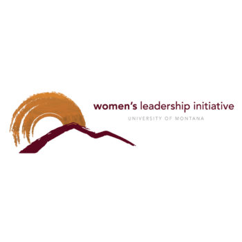 Logo with Mountains and sunrise with words Women's Leadership Initiative, University of Montana.