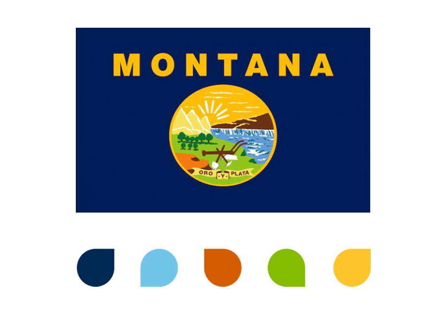 Image of the Montana State flag with the new Clearwater Credit Union colors below it.