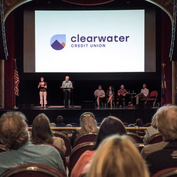 Photo of the 2019 Annual Meeting at The Wilma, with the new Clearwater Credit Union logo and board members.