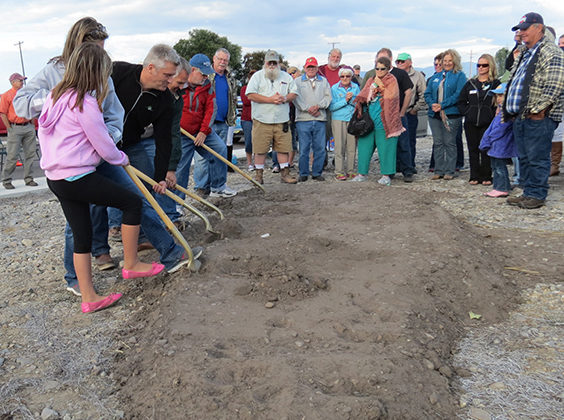 Jack Lawson and community breaking ground at Twin Creeks subdivision.