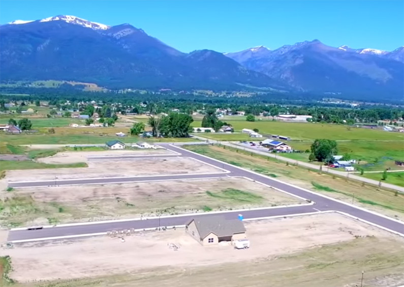 Aerial view of a house on the Twin Creeks Subdivision in Stevensville, MT.
