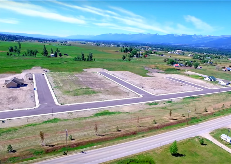 Aerial view of the Twin Creeks subdivision in Stevensville, MT.