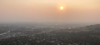 Scene of the Missoula valley during wildfire season.